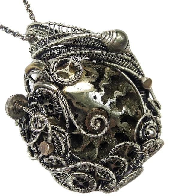 Pyritized Ammonite Steampunk Pendant with Recycled Watch Parts. Heather Jordan Heather Jordan Jewelry