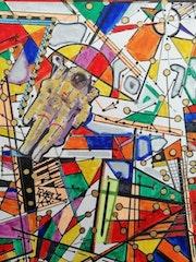 Detail «space stained glass» Gvarez/Glenn Varez 2020. Gvarez