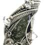 Moldavite Pendant, Wire-Wrapped with Herkimer Diamonds. Heather Jordan Jewelry