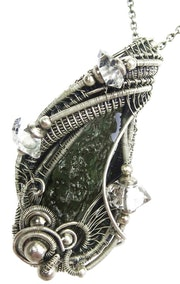 Moldavite Pendant, Wire-Wrapped with Herkimer Diamonds.
