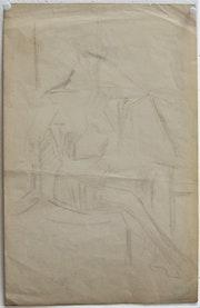 André Lhote (? ) : Étude cubiste de nu assis. Historien d'art, Archéologue; Chercheur Free-L.