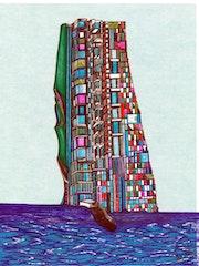«Mexican Building» diseño arquitectónico sobre papel y tinta. Leon Xlll