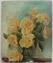 Pseudo Van Gogh : Bouquet de fleurs (sur carton publicitaire). Historien d'art, Archéologue; Chercheur Free-Lance (Er)