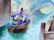 Paisaje en canal de Venecia. Inés Lago