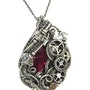 Lab-Grown Ruby Steampunk Pendant with Herkimer Diamonds, Wire Wrap. Heather Jordan Jewelry