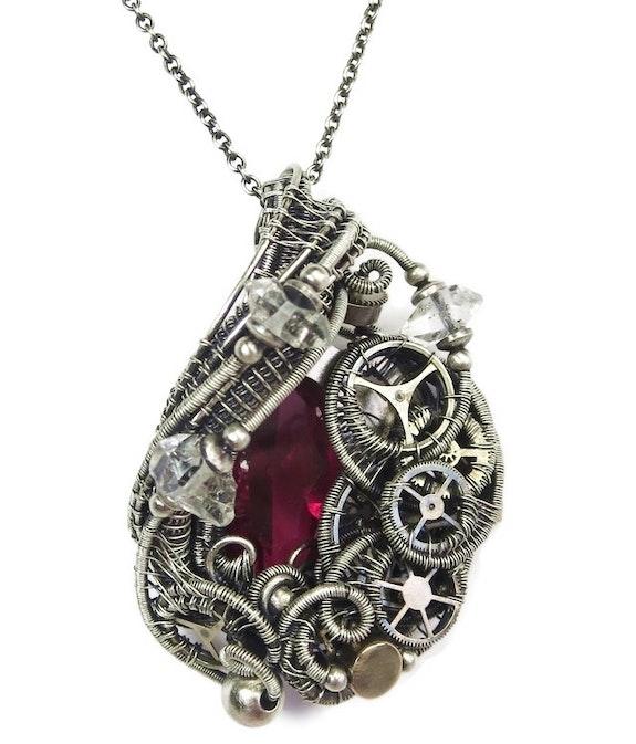 Lab-Grown Ruby Steampunk Pendant with Herkimer Diamonds, Wire Wrap. Heather Jordan Heather Jordan Jewelry
