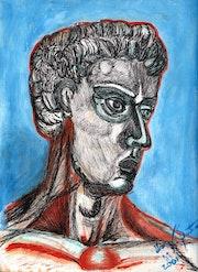 «Rostro de una Escultura» tinta sobre papel. Leon Xlll