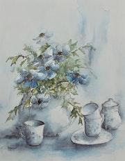 Anémones et porcelaines. Marie-Charlotte Houpeurt-Chauffete