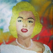 Marilyn Monroe painted in acrylic on canvas.