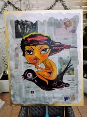 Flying woman painted in acrylic on aluminum sheet with gold leaf edge. Acrylwolle
