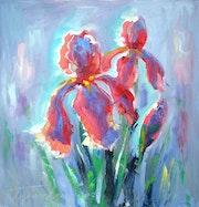 Gloving irises, 70x70 cm, stretched canvas, oil, 2019.