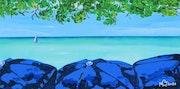 Cayman Umbrellas Acrylic Painting. Mcj