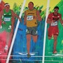 100 Meter competition. Acrylwolle
