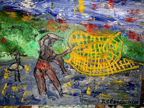 Pécheur sénégalais au filet. Seneca Jean Luc Seneca