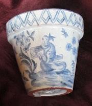 Delft : Pot-à-fleur, XVIIème siècle. Marqué.. Historien d'art, Archéologue; Chercheur Free-L.