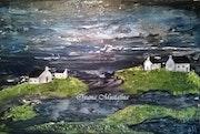 Peinture acrylique Paysage breton sur toile de coton.