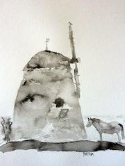 Vieux moulin en Hollande, encre de chine.