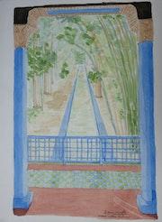 Aquarelle originale du jardin Majorelle a Marrakech - signée du peintre.