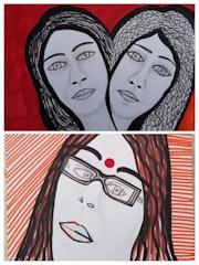 Women faces Israeli artist modern talented artist paintings. Mirit Ben-Nun