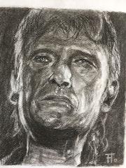 Portrait de johnny Hallyday d'après Florence Quesnel. Flo