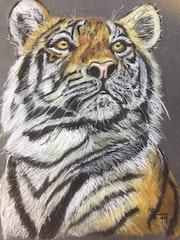 Portrait de tigre d'après Florence Quesnel. Flo