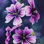 'Surgiendo de la oscuridad', pintura al óleo de flores de malva.