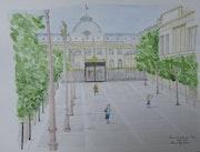 Aquarelle originale du Palais de Justice à Paris - Signée par l'artiste.