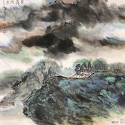 Sh 17 - Morning Mist & Cloud - Original Asian Art Ink Painting On The Rice Paper. Zhongwu 仲吾