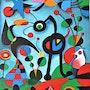 Le Jardin Oeuvre de J. Miro reproduction acrylique/toile 48x36cm. Thibo