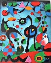 Le Jardin Oeuvre de J. Miro reproduction acrylique/toile 48x36cm.