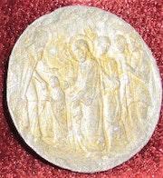 Plomb jadis doré : Présentation de la Vierge au Temple; XVIe. Siècle.. Historien d'art, Archéologue; Chercheur Free-L.