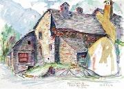 Bauernhaus in Ritorto, Val Bavona, Tessin (1991).