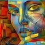 Lady Mariposa - Mix media - 80x68 cm. Léa Roche
