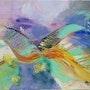 Vol d oiseau dans un ciel bleuté. Myriam Courty