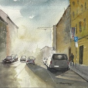 Une rue en contre-jour.