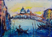 Oil painting on canvas 50x70cm, Impressionism painting, Italy, Venice, Boats, Sea.
