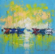 Oil painting on canvas 40x40cm, Impressionism painting, Sea Boats, Water, Dawn, Sun.