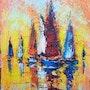 Peinture à l'huile sur toile 35x30cm, peinture impressionniste, voiliers de mer,. Victor Fridrikh
