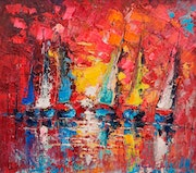 Oil painting on canvas 45x50cm, Impressionism painting, Sea Boats, Water, Sunset..