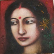 Radha, Mixed Media on Canvas Board by Modern Artist. Online Art Gallery