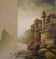 Banaras, Oil on Canvas by Contemporary Artist. Online Art Gallery