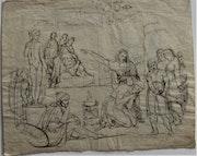 Jacques-Louis. David (1748-1825), étude, r° : Saint refusant d'adorer l'Idôle.. Historien d'art, Archéologue; Chercheur Free-L.
