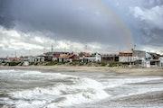 Rainbow on the beach Santa Clara del Mar, Buenos Aires, Argentina.