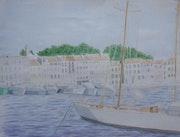 Aquarelle originale du Port de Saint Tropez (Var) - Signée de l'artiste. Mauguil