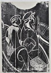 Marcel hamsell, Retour de pêche, gravure.. Historien d'art, Archéologue; Chercheur Free-L.
