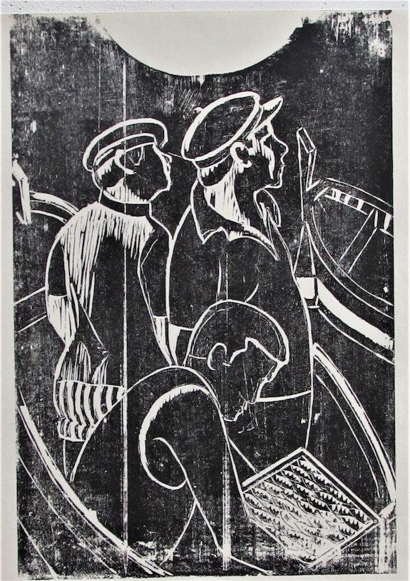 Marcel hamsell, Retour de pêche, gravure.. Marcel Hamsell, Retour De Pêche, Gravure, Épreuve. Historien d'art, Archéologue; Chercheur Free-L.