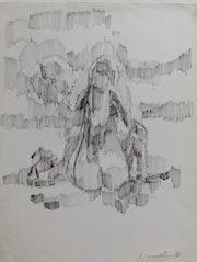 Marcel. Hamsell, Nue & assise sur la plage, dessin, 1972.. Historien d'art, Archéologue; Chercheur Free-L.