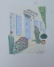 Aquarelle originale d'une porte fleurie à Cassis - signée de l'artiste. Mauguil