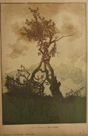 Pierre-Eugène. Vibert (°1875 - +1937), L'Arbre périssant, bois, 1910.. Historien d'art, Archéologue; Chercheur Free-L.