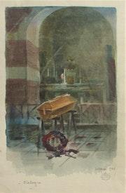 Paul-Marie Pruvost : Cerceuil, aquarelle, 1956.. Historien d'art, Archéologue; Chercheur Free-L.